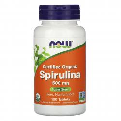 Now Foods Spirulina Certified Organic 500 mg 100 tab