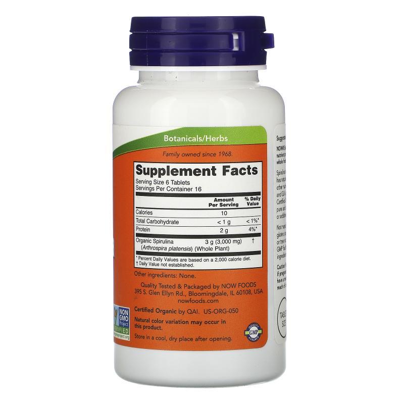 Now Foods Spirulina Certified Organic 500 mg 100 tab - фото 1