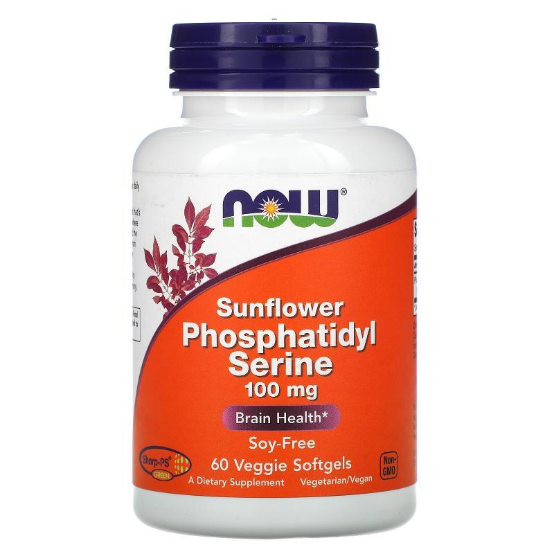 Now Foods Sunflower Phosphatidyl Serine 100 mg 60 softgels - фото 1