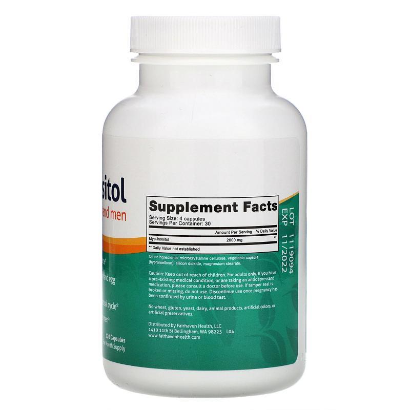 Fairhaven Health Myo-Inositol for women and men 120 capsules - фото 1