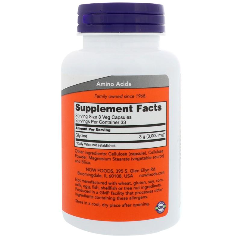 Now Foods Glycine 1000 mg 100 vcaps - фото 1