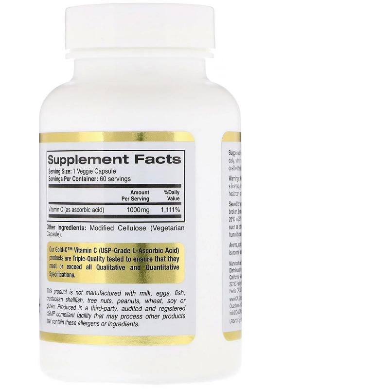 California Gold Nutrition Gold C Vitamin C 1000 mg 60 vcaps - фото 1