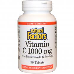 Natural Factors Vitamin C plus Bioflavonoids & Rosehips 1000 mg 90 tablets