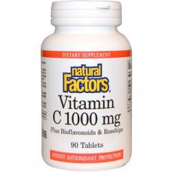 Natural Factors Vitamin C plus Bioflavonoids & Rosehips 1000 mg 90 tablets
