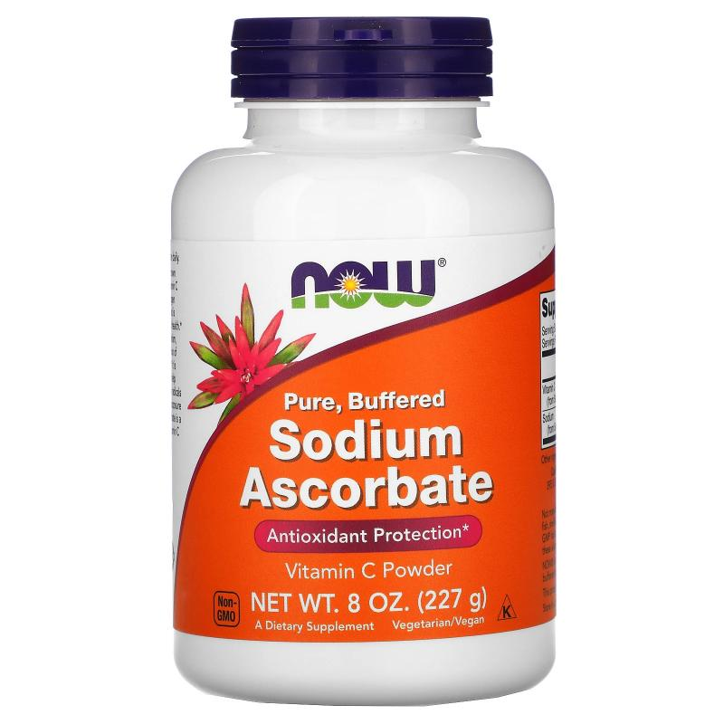 Now Foods Sodium Ascorbate vitamin c powder 227 g - фото 1