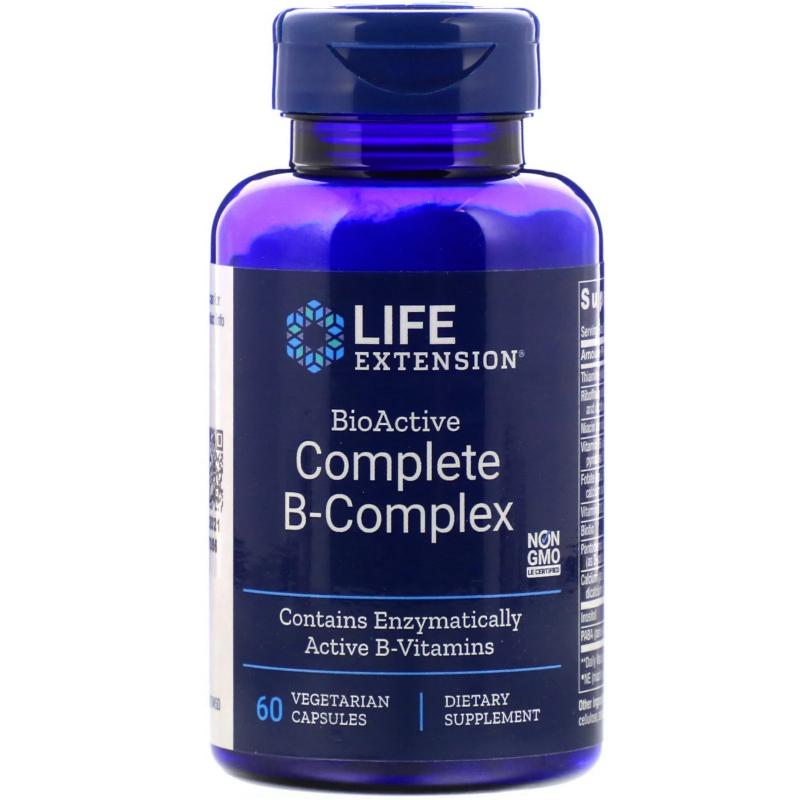 Life Extension BioActive Complete B-Complex 60 Vegetarian Capsules - фото 1