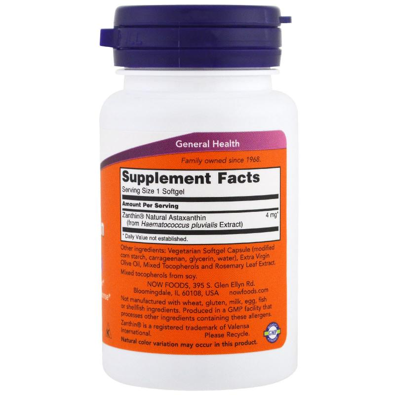 Now Foods Astaxanthin 4 mg 60 softgels - фото 1