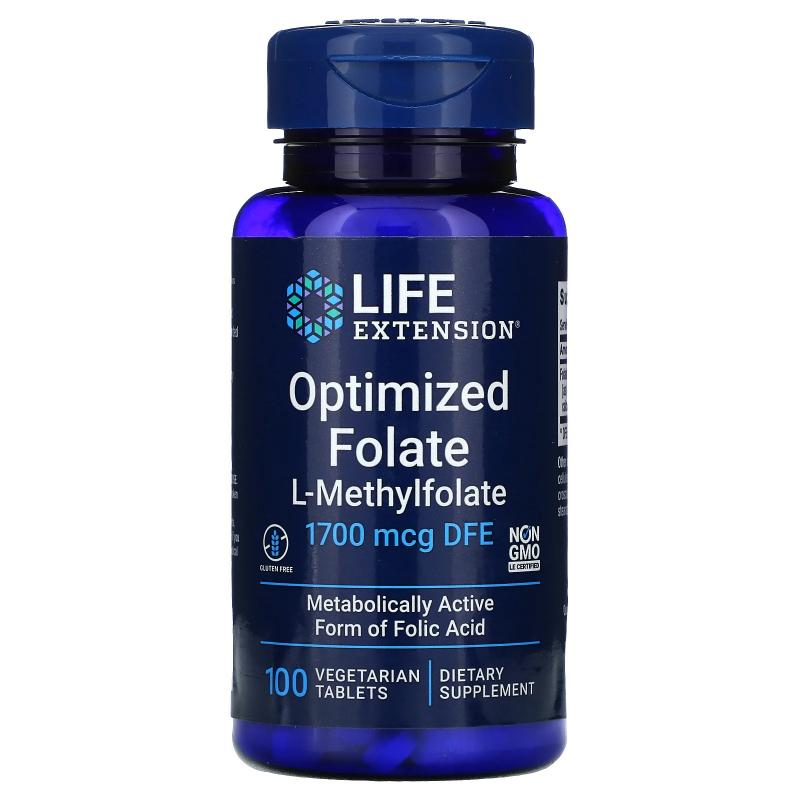 Life Extension Optimized Folate L-Methylfolate 1700 mcg DFE 100 tablets - фото 1