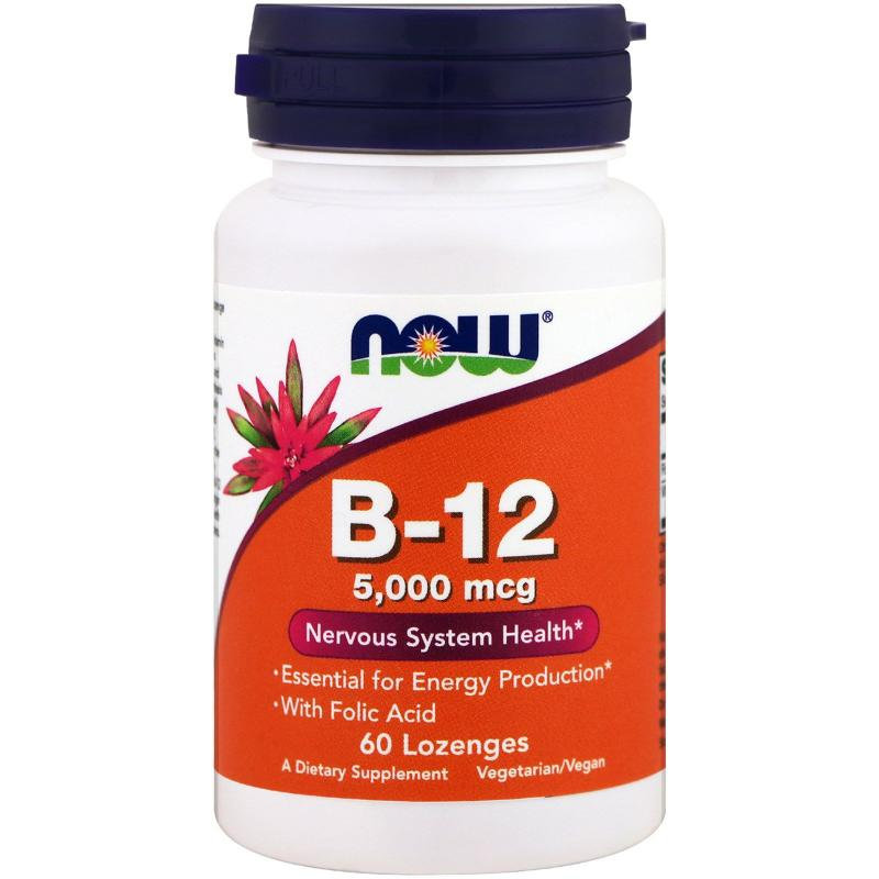 Now Foods B-12 5000 mcg 60 lozenges - фото 1
