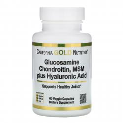 California Gold Nutrition Glucosamine Chondroitin MSM plus Hyaluronic Acid 60 vcaps