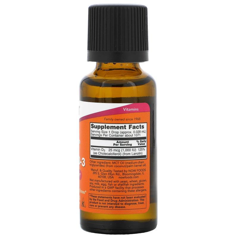 Now Foods Liquid Vitamin D-3 1.000 IU 30 ml - фото 1