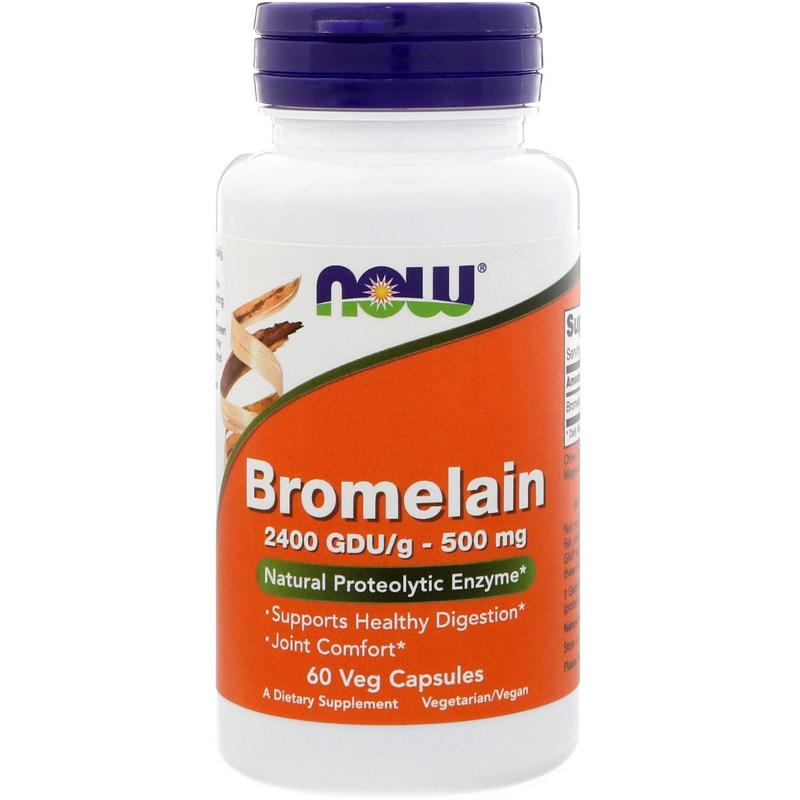 Now Foods Bromelain 2400 GDU/g-500 mg 60 vcaps - фото 1