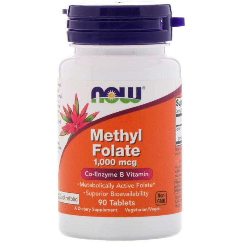 Now Foods Methyl Folate 1.000 mcg 90 tablets - фото 1