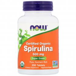 Now Foods Spirulina Certified Organic 500 mg 200 tab