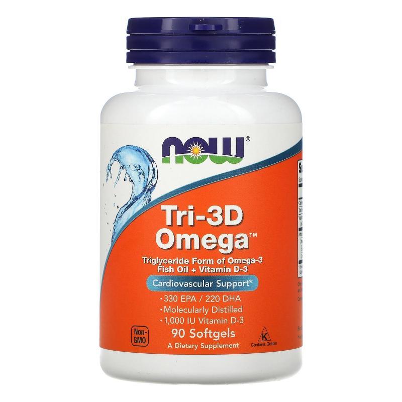Now Foods Tri-3D Omega + Vitamin D-3 90 softgels - фото 1