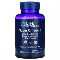 Life Extension Super Omega-3 EPA/DHA Fish Oil Sesame Lignans and Olive Extract 60 Softgels