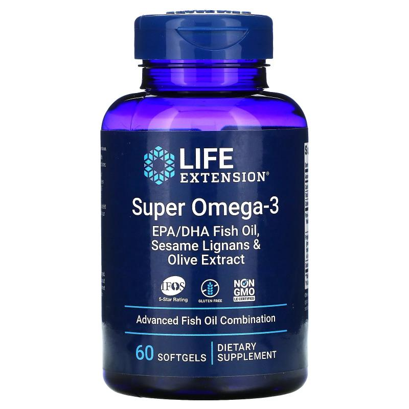 Life Extension Super Omega-3 EPA/DHA Fish Oil Sesame Lignans and Olive Extract 60 Softgels - фото 1