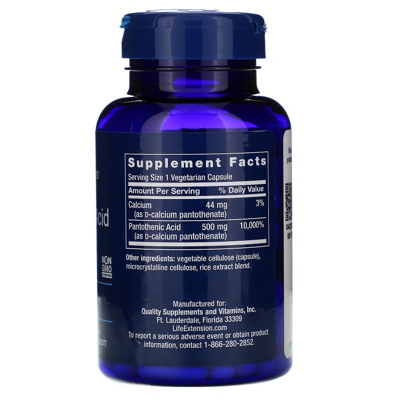 Life Extension Pantothenic Acid Vitamin B-5 500 mg 100 Caps - фото 1