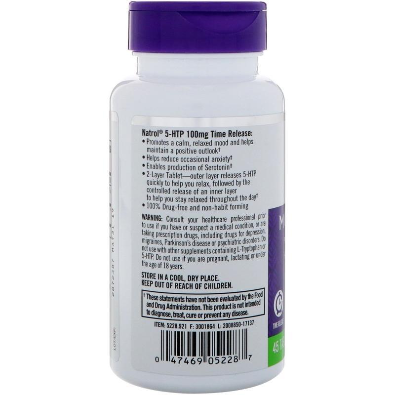 Natrol 5-HTP Time Release 100 mg 45 tab - фото 1