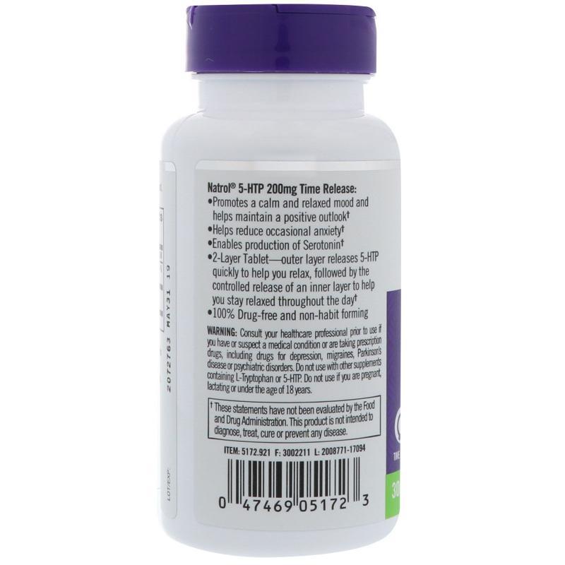 Natrol 5-HTP Time Release 200 mg 30 tab - фото 1