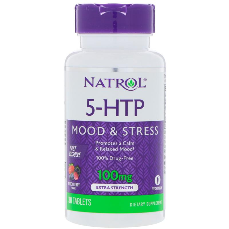 Natrol 5-HTP Wild Berry Flavor 100 mg 30 tab - фото 1