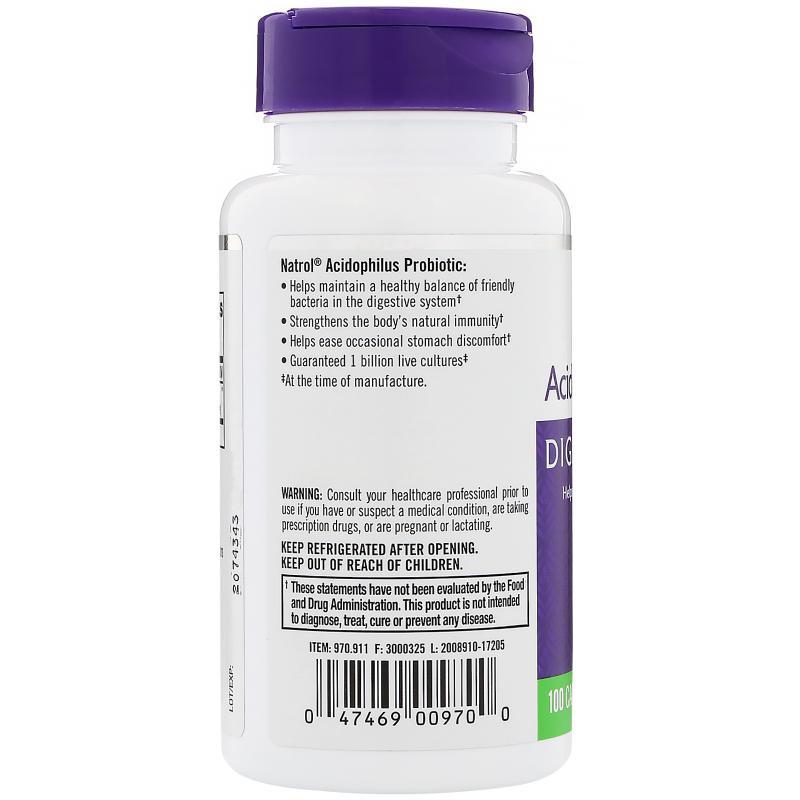 Natrol Acidophilus Probiotic 100 Capsules - фото 1