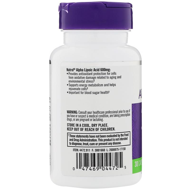 Natrol Alpha Lipoic Acid 600 mg 30 caps - фото 1