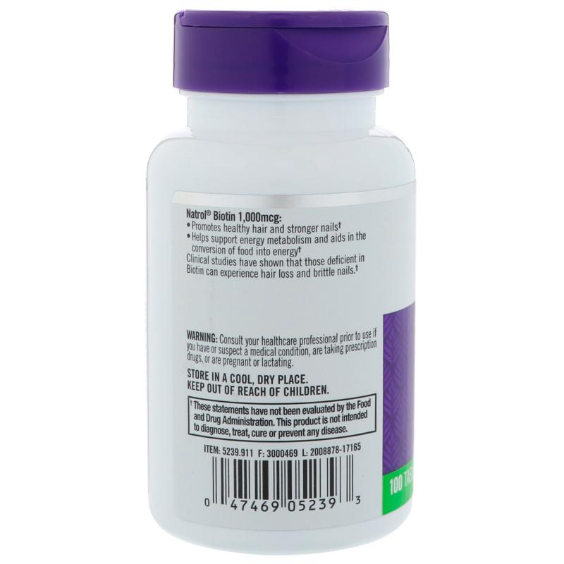 Natrol Biotin 1000 mcg 100 tab - фото 1