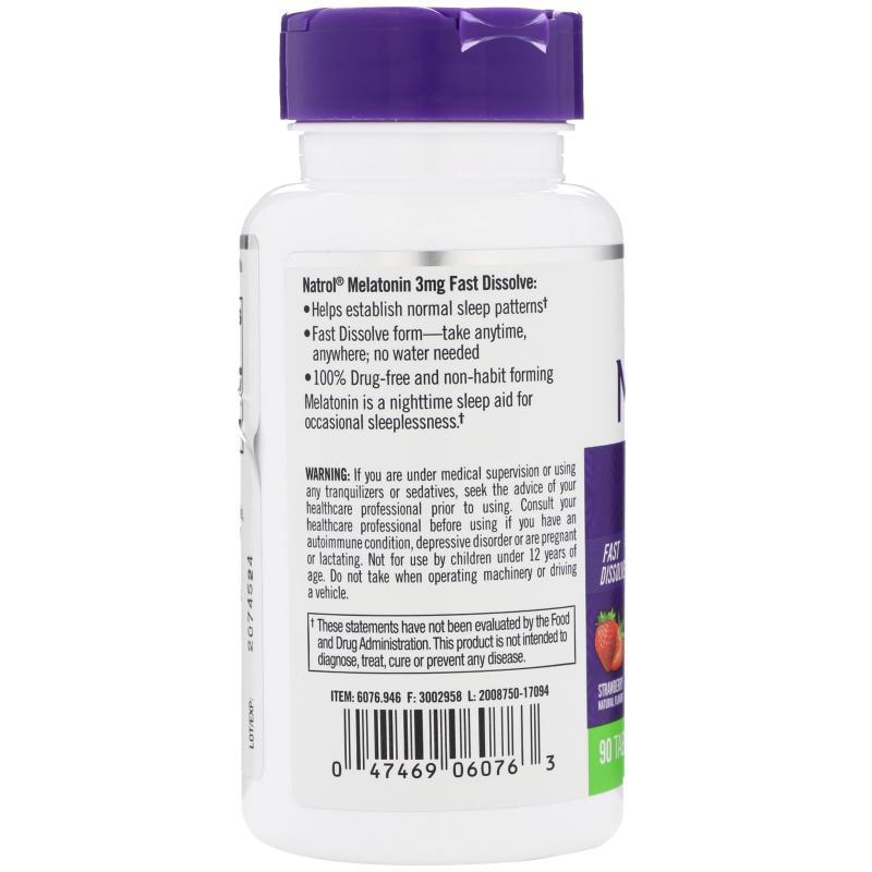 Natrol Melatonin Fast Dissolve Strawberry 3 mg 90 tab - фото 1