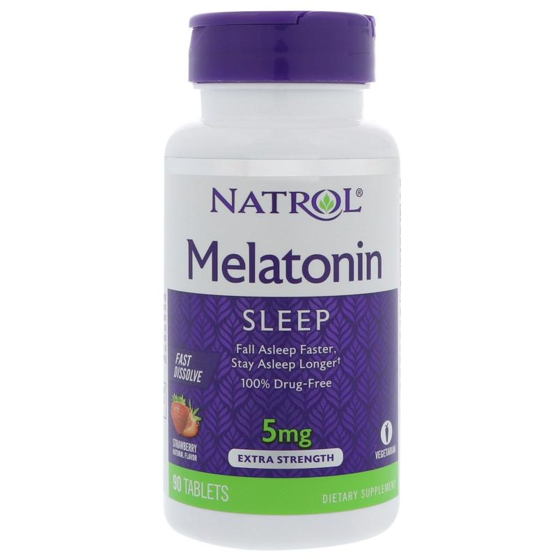 Natrol Melatonin Fast Dissolve Strawberry 5 mg 90 tab - фото 1
