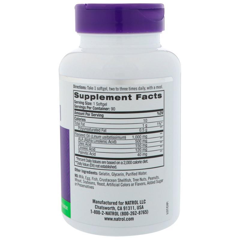 Natrol Flaxseed 1000 mg 90 softgels - фото 1