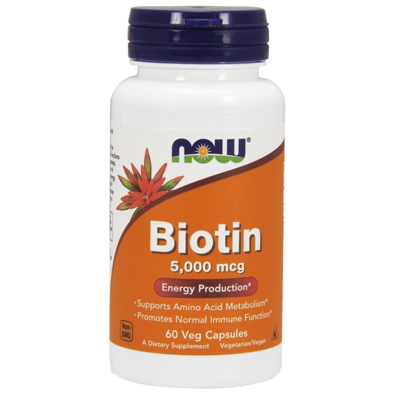 Now Foods Biotin 5000 mcg 60 vcaps - фото 1
