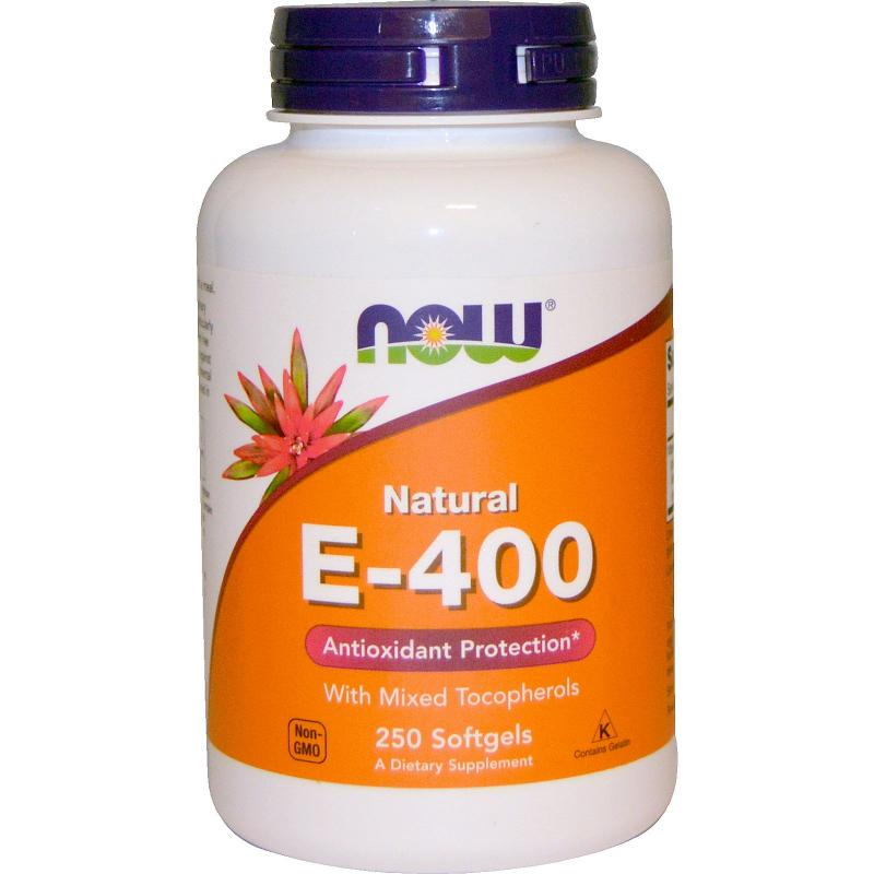 Now Foods E-400 IU With Mixed Tocopherols 250 softgels - фото 1