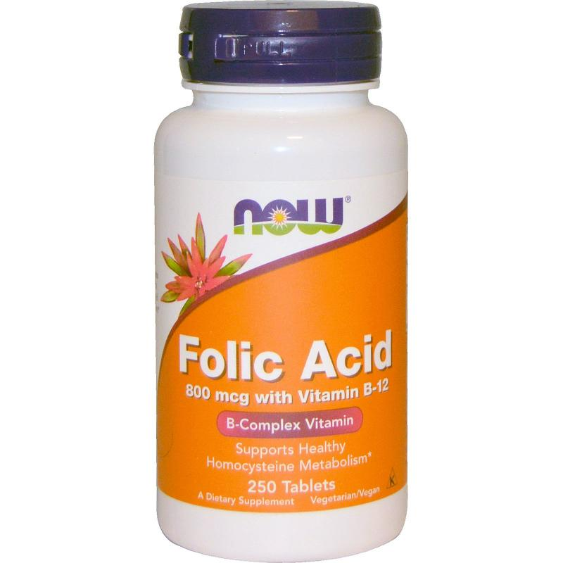 Now Foods Folic Acid 800 mcg 250 tabs - фото 1