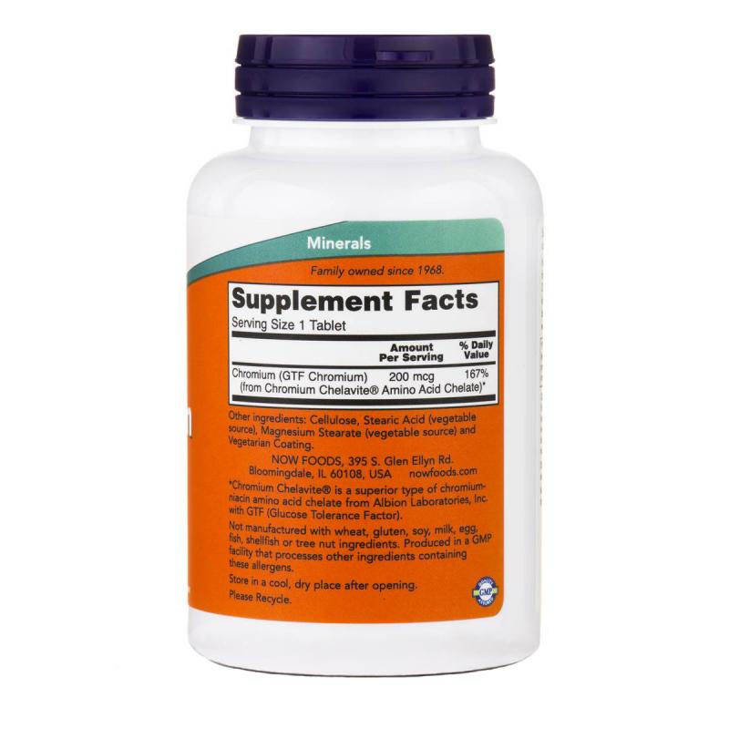Now Foods GTF Chromium 200 mcg 250 tab - фото 1