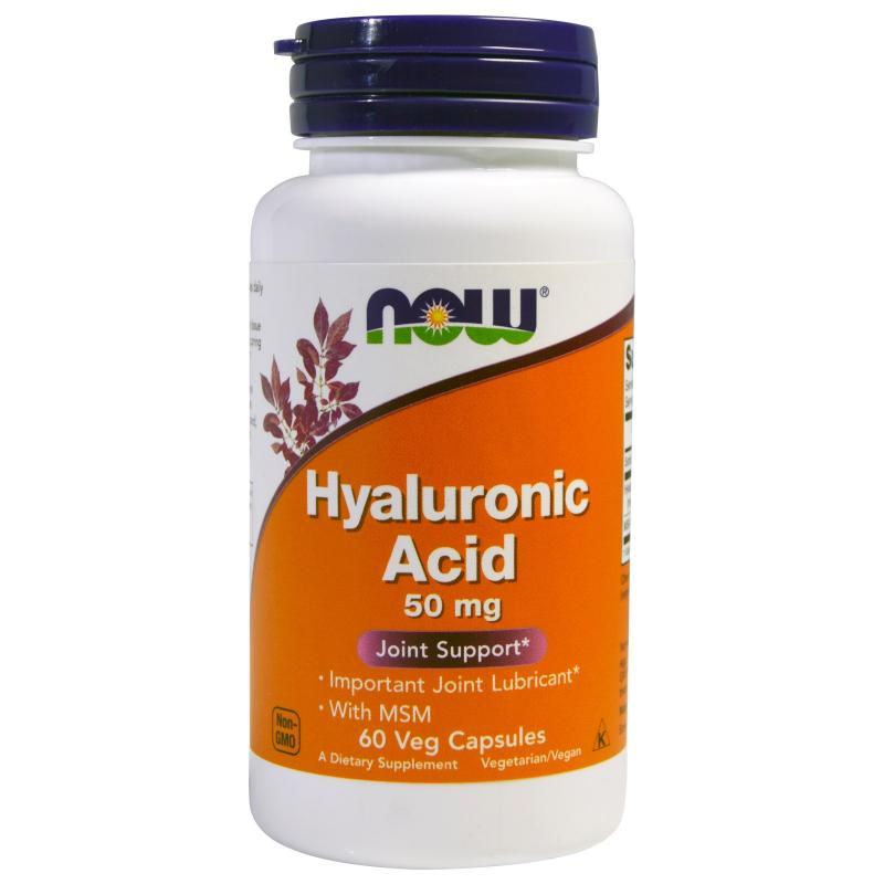 Now Foods Hyaluronic Acid 50 mg with MSM 60 vcaps - фото 1