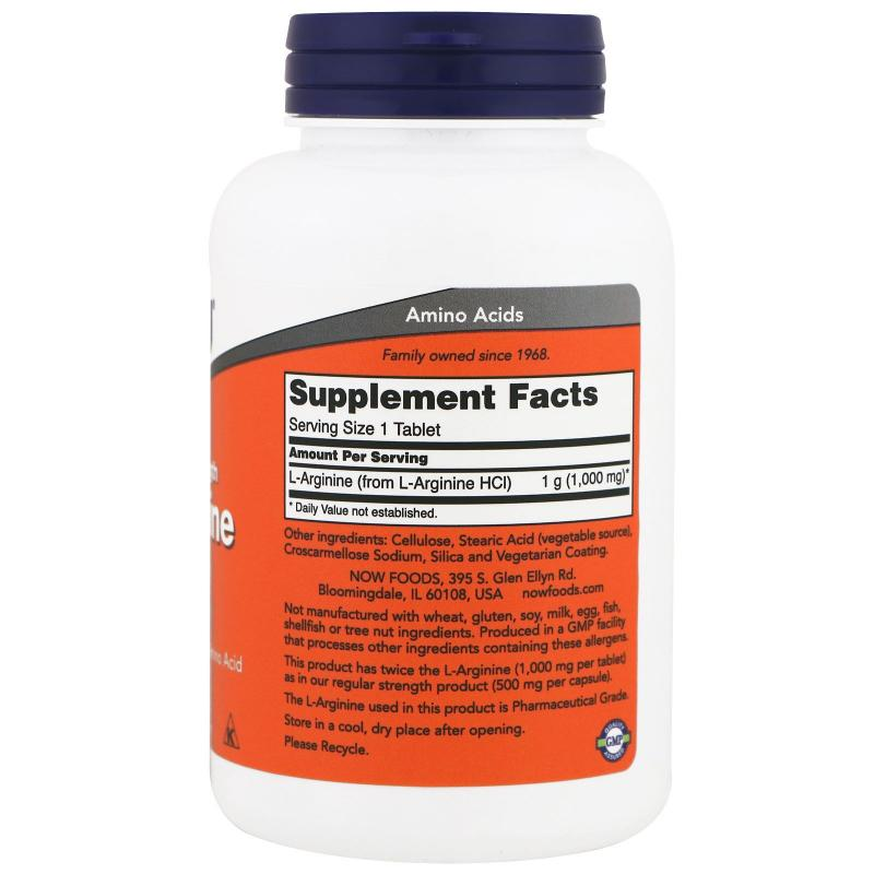 Now Foods L-Arginine 1000 mg 120 tab - фото 1