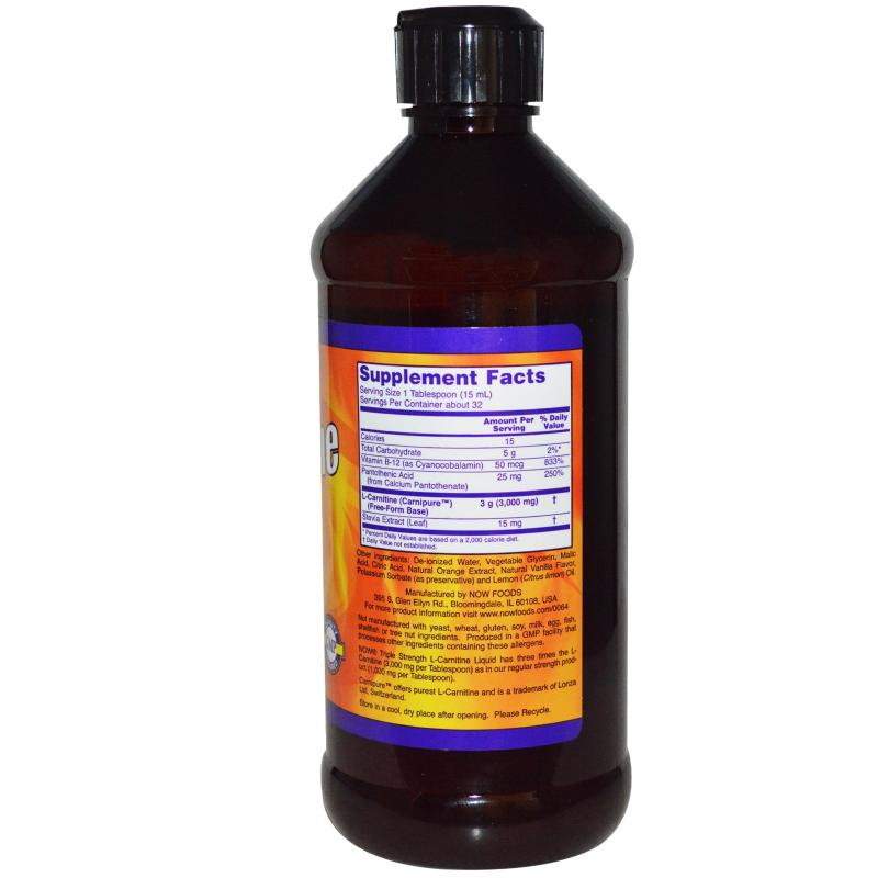 Now Foods L-Carnitine Liquid Citrus Flavor 3000 mg 473 ml - фото 1