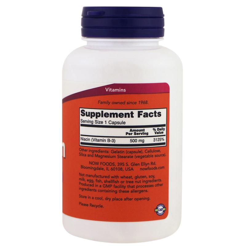 Now Foods Niacin Vitamin B-3 500 mg 100 caps - фото 1