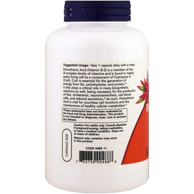 Now Foods Pantothenic Acid 500 mg 250 caps - фото 1