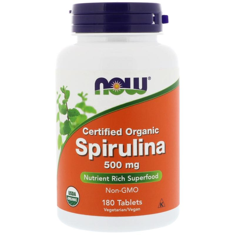 Now Foods Spirulina Certified Organic 500 mg 180 tab - фото 1