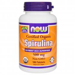 Now Foods Spirulina Certified Organic 500 mg 180 tab