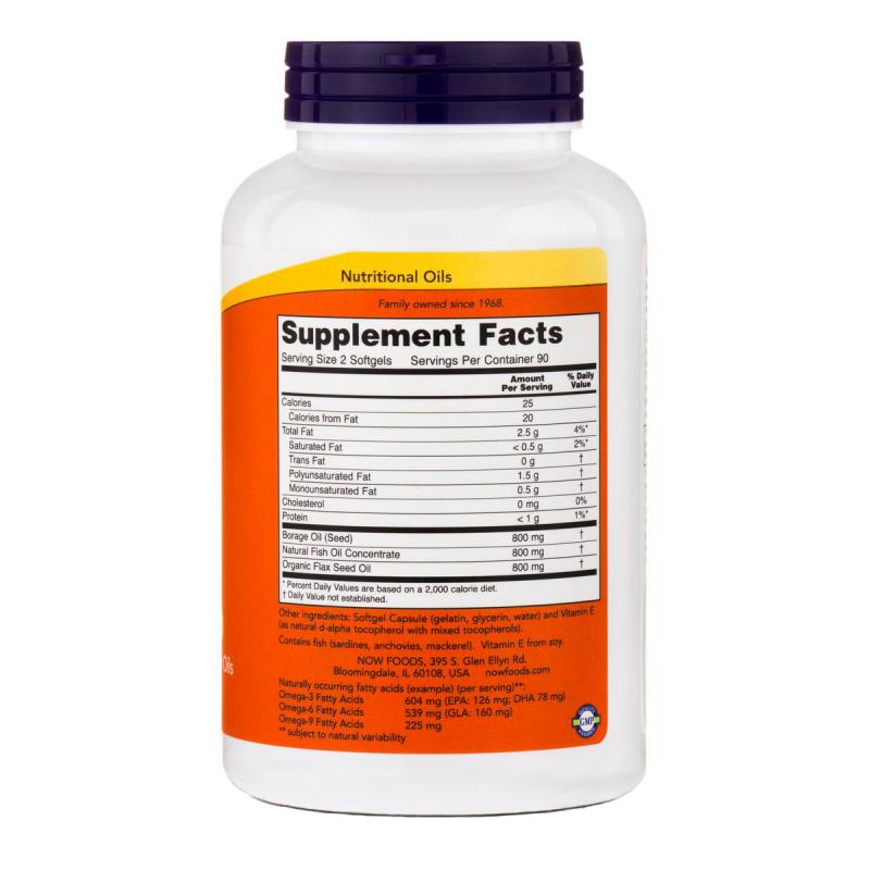 Now Foods Super Omega 3-6-9 1200 mg 180 soft - фото 1