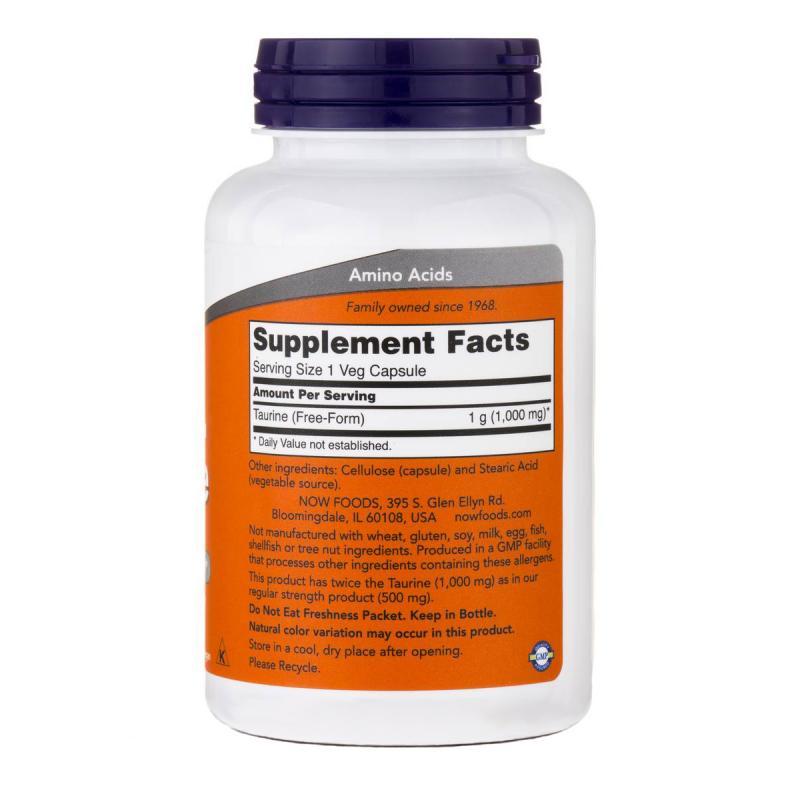 Now Foods Taurine 1000 mg 100 caps - фото 1