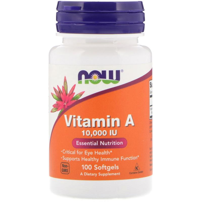 Now Foods Vitamin A 10 000 IU 100 soft - фото 1