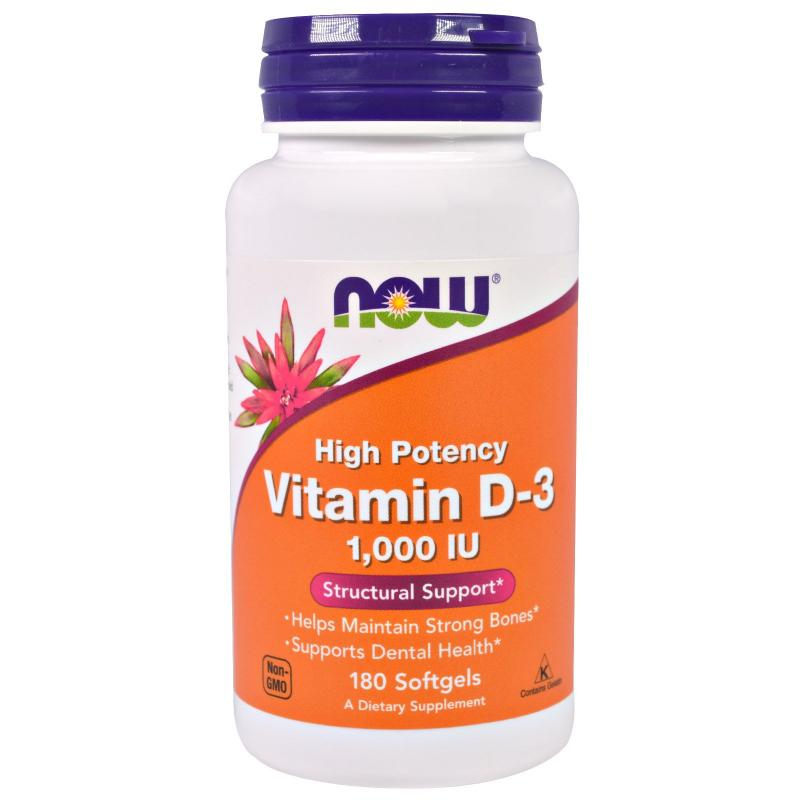 Now Foods Vitamin D-3 1.000 IU 180 soft - фото 1