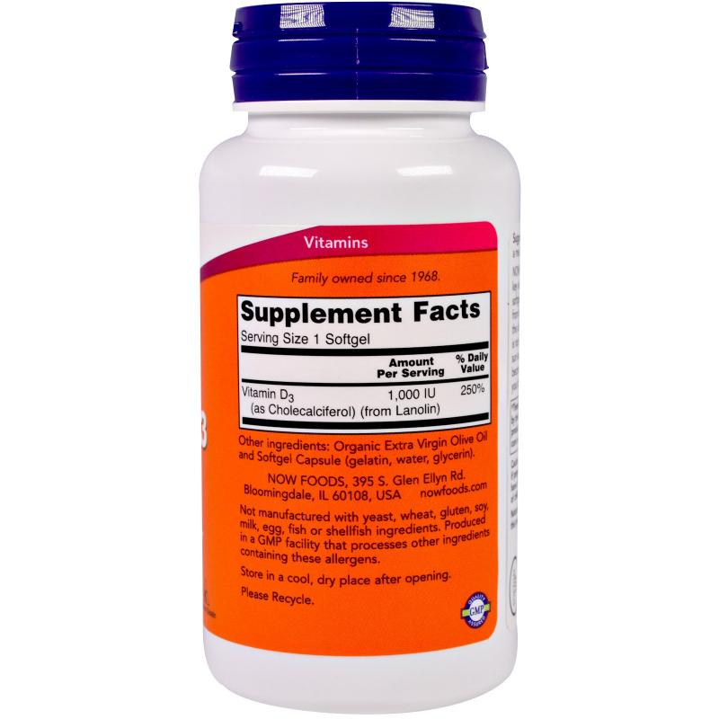 Now Foods Vitamin D-3 1.000 IU 180 soft - фото 1