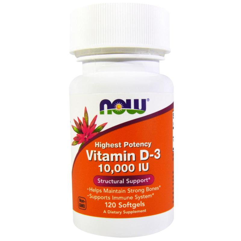 Now Foods Vitamin D-3 10.000 IU 120 soft - фото 1