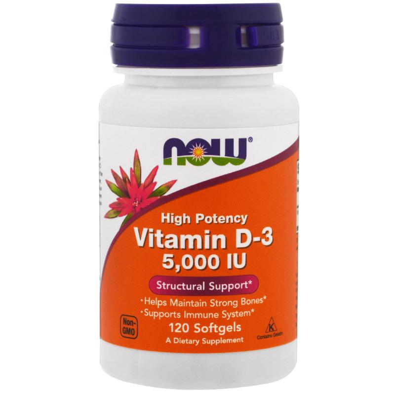 Now Foods Vitamin D-3 5.000 IU 120 soft - фото 1