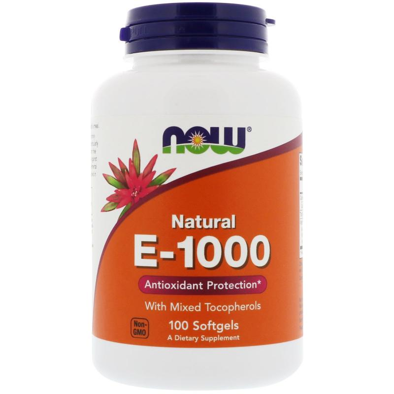 Now Foods E-1000 IU With Mixed Tocopherols 100 softgels - фото 1